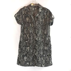 NY&Co | Animal Print Zip Up Cuffed Sleeve Dress XL
